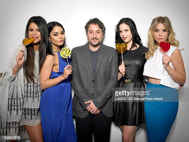 Film director Harmony Korine with actors Selena Gomez Vanessa Hudgens Rachel Korine and Ashley Benson are photographed for Paris Match on February 17...