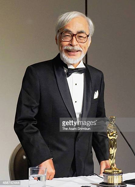 Film director Hayao Miyazaki attend a press conference after receiving an Honorary Award at the Academy Of Motion Picture Arts And Sciences' 2014...