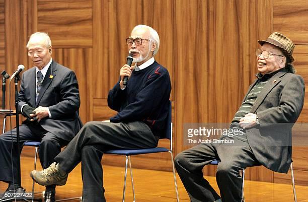 Film director Hayao Miyazaki attends the Hansen's Disease symposium on January 28 2016 in Tokyo Japan