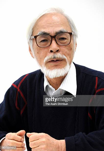 Film director Hayao Miyazaki speaks during a press conference after the Hansen's Disease symposium on January 28 2016 in Tokyo Japan