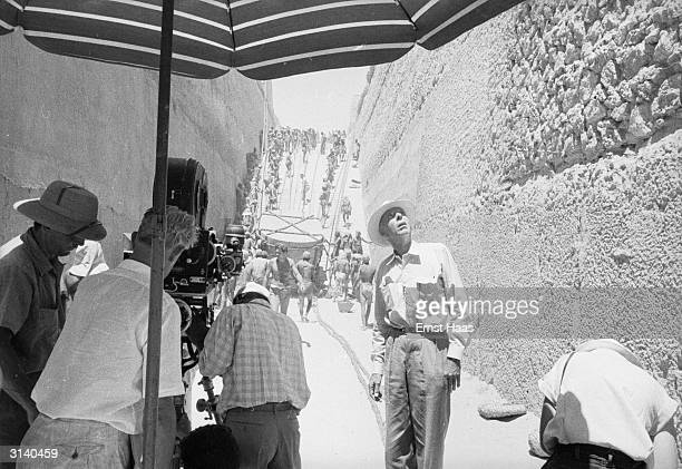 Film director Howard Hawks filming The Land Of The Pharaohs on location in Egypt