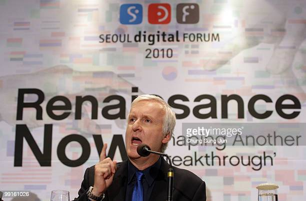 Film director James Cameron makes a speech during the press conference after his key note of the 'Seoul Digital Forum 2010' at Walkerhill hotel on...