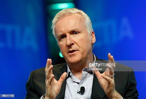 Film director James Cameron speaks during a roundtable discussion at the International CTIA Wireless 2010 convention at the Las Vegas Convention...