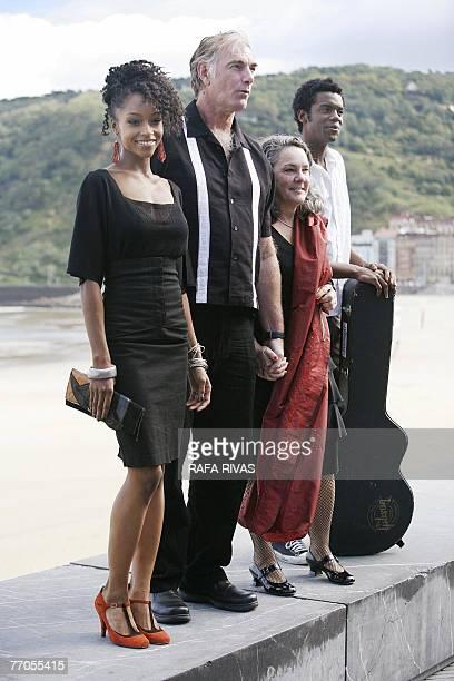 Film director John Sayles poses with US actress Yaya da Costa , producer Maggie Renzi and musician Gary Clark Jr. , 27 September 2007, after the...