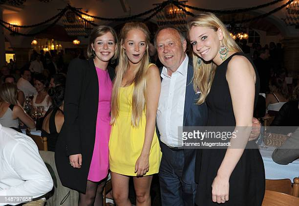 Film director Joseph Vilsmaier and his daughters Josefine Theresa and Janina attend the 'Bavaria' Germany Premiere party at the Loewnbraeukeller on...