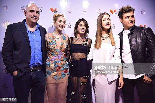 Film Director Juan Pablo Buscarini Mercedes Lambre Martina Stoessel Clari Alonso and Jorge Blanco pose for a photo during TINI El Gran Cambio de...