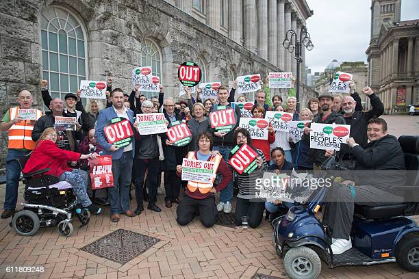Film director Ken Loach and Natalie Bennett former leader of the Green Party gather with antiausterity and antiTory activists outside the People's...