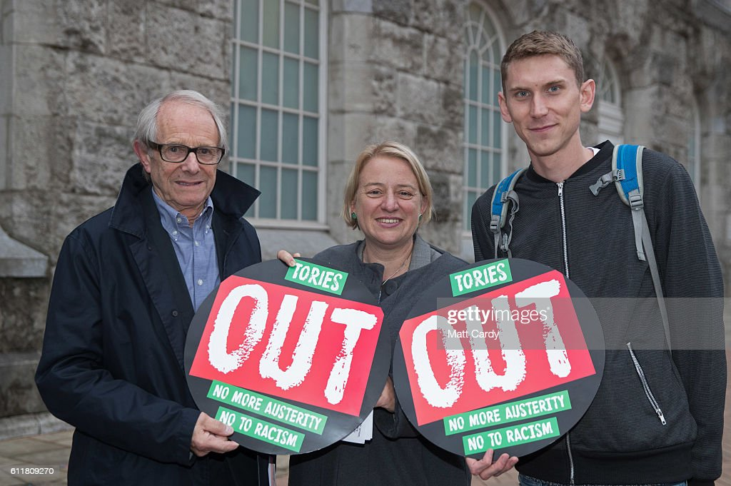 Film director Ken Loach, Natalie Bennett, former leader of the Green Party and Sam Fairbairn, People's Assembly national secretary, pose for a photograph outside the People's Assembly's People Conference which is being held in Birmingham Town Hall ahead of a demonstration tomorrow on on October 1, 2016 in Birmingham, England. Conservative Party members began gathering today ahead of the four day conference which will begin tomorrow.