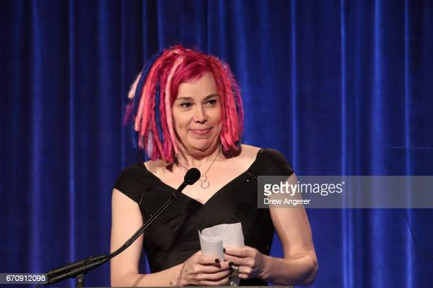 Film director Lana Wachowski speaks about fashion designer Marc Jacobs speaks at LGBT Center dinner April 20 2017 in New York City Jacobs was awarded...