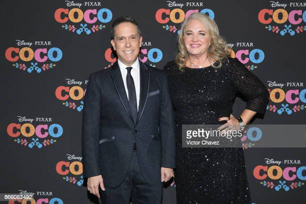 Film director Lee Unkrich and producer Darla K Anderson attend the 'Coco' Mexico City premiere at Palacio de Bellas Artes on October 24 2017 in...