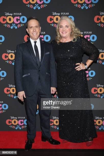 Film director Lee Unkrich and producer Darla K Anderson attend the Coco Mexico City premiere at Palacio de Bellas Artes on October 24 2017 in Mexico...