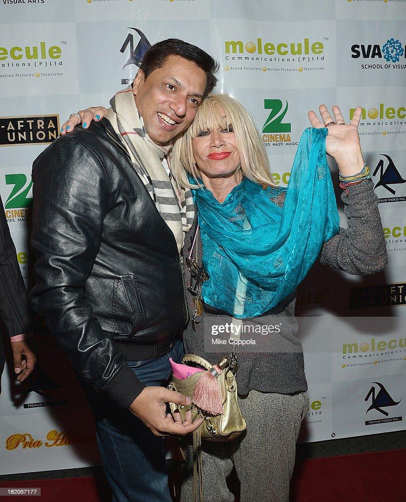 Film director Madhur Bhandarkar (L) and fashion designer Betsey Johnson attend the 'Ticket 2 Bollywood: Cinema Beyond Boundaries' Opening Night Screening at SVA Theater on September 27, 2013 in New York City.