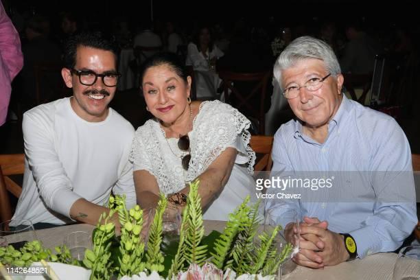 Film director Manolo Caro actress Angelica Aragon and President of EGEDA Enrique Cerezo attend a ceremony to award mexican actress Angelica Aragon...