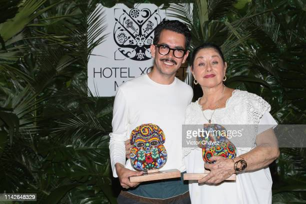 Film director Manolo Caro and actress Angelica Aragon receive the Xcaret award at Hotel Xcaret on May 10 2019 in Playa del Carmen Mexico