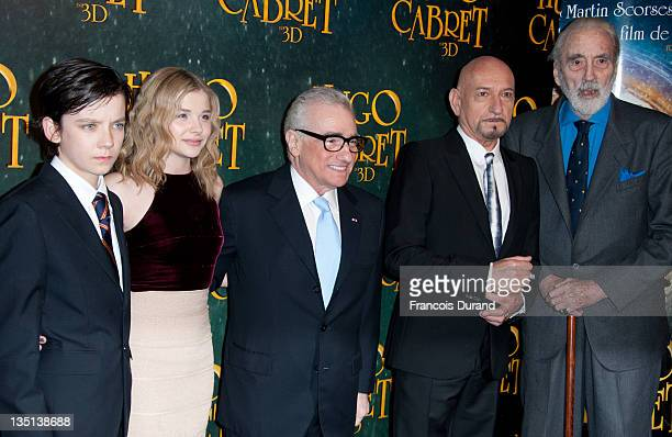 US film director Martin Scorsese poses with British actor Ben Kingsley US actor Christopher Lee British actor Asa Butterfield and US actress Chloe...