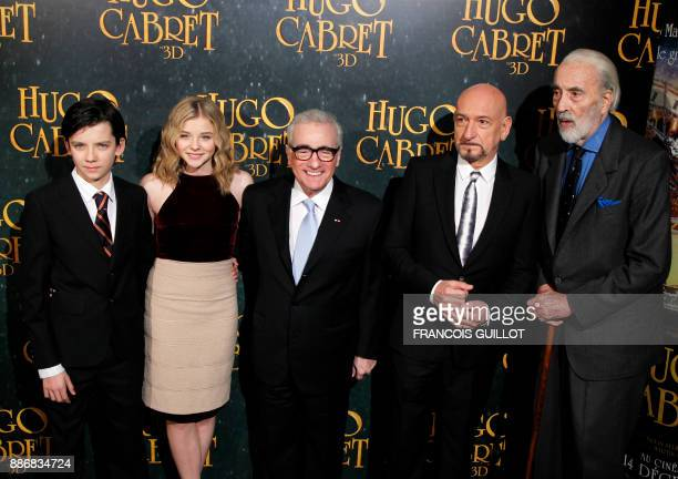 US film director Martin Scorsese poses with British actor Ben Kingsley British actor Christopher Lee British actor Asa Butterlield and US actress...