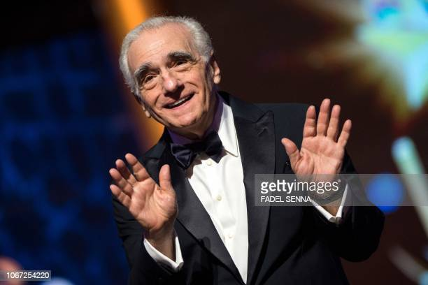 Film director Martin Scorsese reacts during the award tribute ceremony for US actor Robert de Niro as part of the 17th Marrakech International Film...