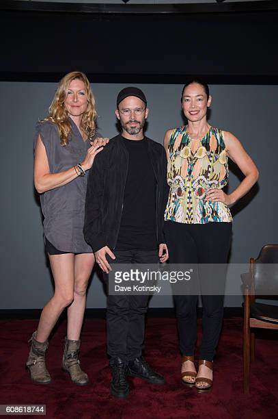 "Film Director Megan Raney Erins, Artist Daniel Arsham and Cecilia Dean attends the Daniel Arsham ""Colorblind Artist: In Full Color"" at Spring Place..."