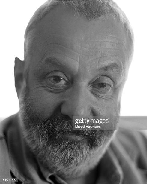 Film director Mike Leigh poses for a portrait shoot for Optimum magazine in Cannes on May 28 2002