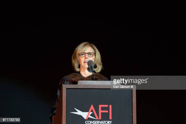 Film director Nancy Meyers speaks at AFI's Concervatory Commencement Ceremony at TCL Chinese Theatre on June 11 2018 in Hollywood California