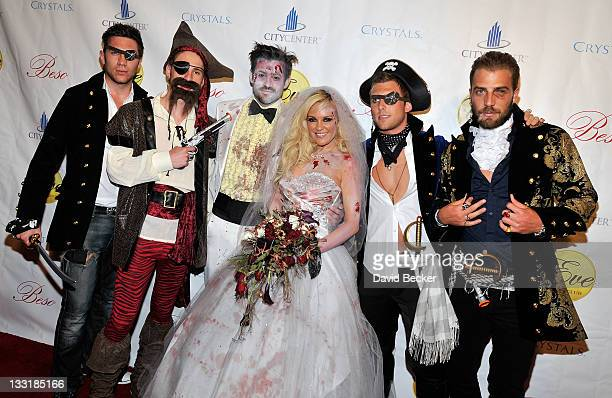 Film director Nick Carpenter and television personality Bridget Marquardt, with friends all dressed in costumes, arrive to host the Halfway to...