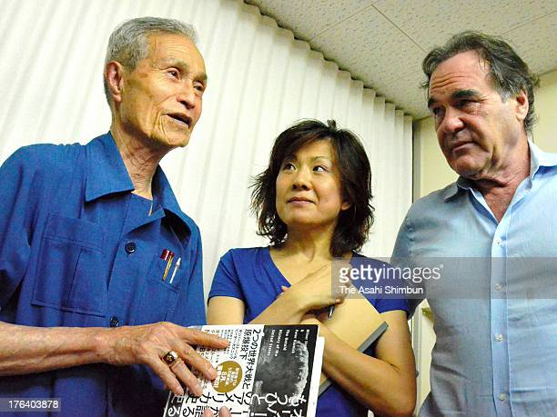US film director Oliver Stone meets the Nagasaki atomic bomb survivor Sumiteru Taniguchi during his visit to Hiroshima and Nagasaki on August 7 2013...