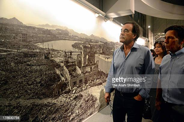 Film Director Oliver Stone visits the Hiroshima Peace Memorial Museum on August 4 2013 in Hiroshima Japan Stone will attend the Peace Memorial on...