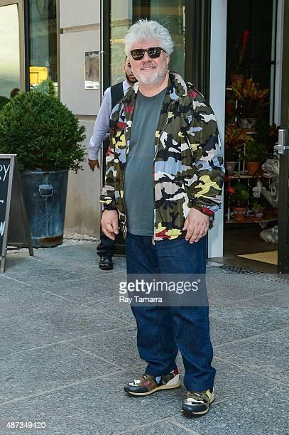 Film director Pedro Almodovar leaves his Soho hotel on September 8 2015 in New York City