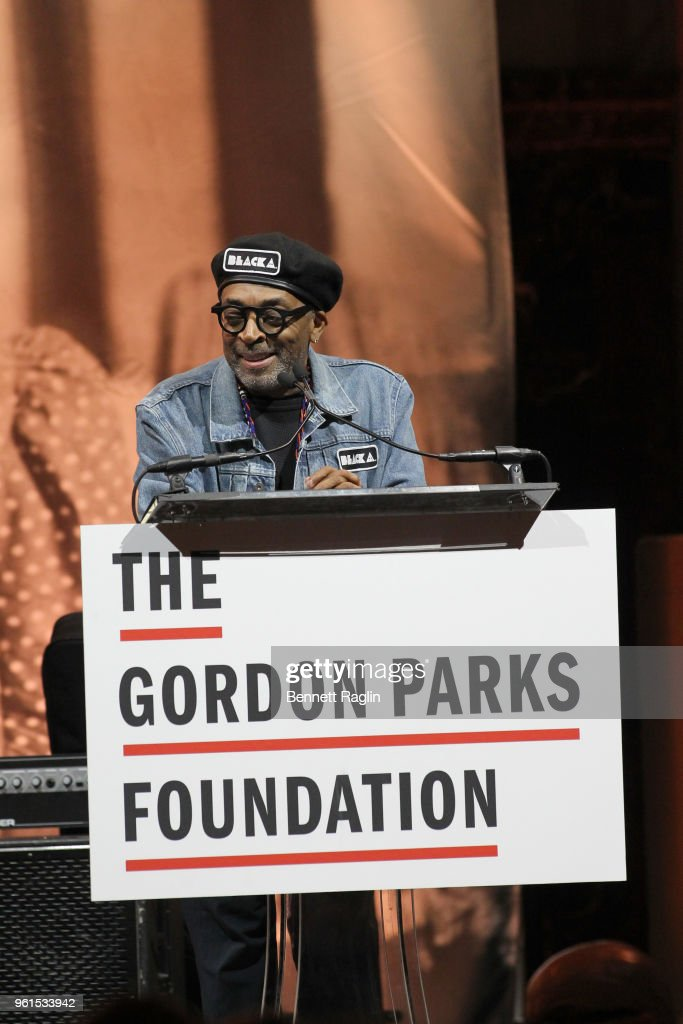 Film Director, Presenter Spike Lee speaks on stage at Gordon Parks Foundation: 2018 Awards Dinner & Auction at Cipriani 42nd Street on May 22, 2018 in New York City.