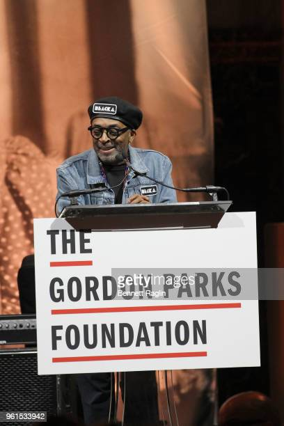 Film Director Presenter Spike Lee speaks on stage at Gordon Parks Foundation 2018 Awards Dinner Auction at Cipriani 42nd Street on May 22 2018 in New...