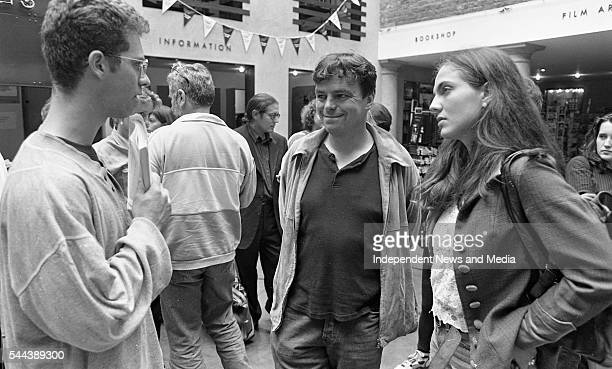 Film director producer and writer Neil Jordan speaks with an unidentified people at the Gregory Peck Script Writing Summer School at the IFC Dublin...
