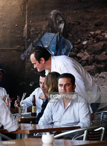 Film director Quentin Tarantino is seen in a restaurante with friends at Virrey de Mendoza Hotel during his passage at the 8th Morelia International...