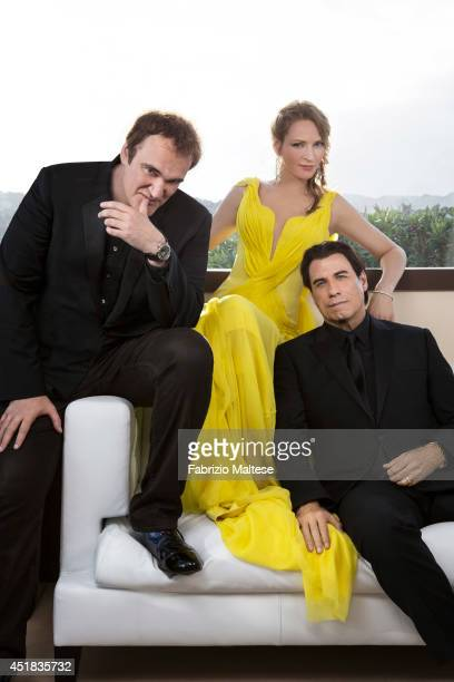 Film director Quentin Tarantino with actors Uma Thurman and John Travolta are photographed for the Hollywood Reporter on May 23 2014 in Cannes France