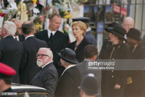 Film director Richard Attenborough and his wife Sheila Sim among mourners passing flowers and messages of condolence at the funeral service for Diana...