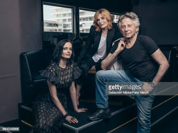 Film director Roman Polanski with actors Eva Green and Emmanuelle Seigner are photographed for Paris Match on May 27 2017 in Cannes France