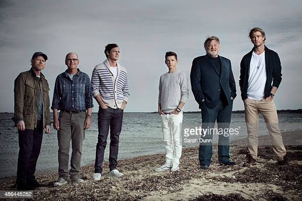 Film director Ron Howard writer Nathaniel Philbrick actors Benjamin Walker Tom Holland Brendan Gleeson and Chris Hemsworth are photographed for...
