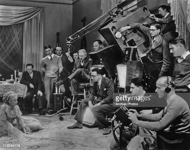 Film director Rouben Mamoulian with his crew on a film set in 1935