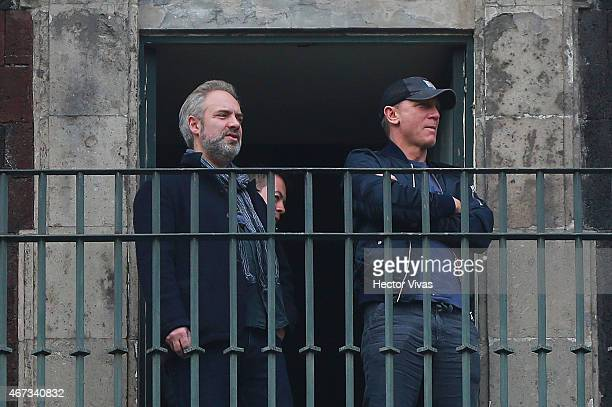 Film director Sam Mendes and actor Daniel Craig during the filming of the latest James Bond movie 'Spectre' at downtown streets of Mexico City on...