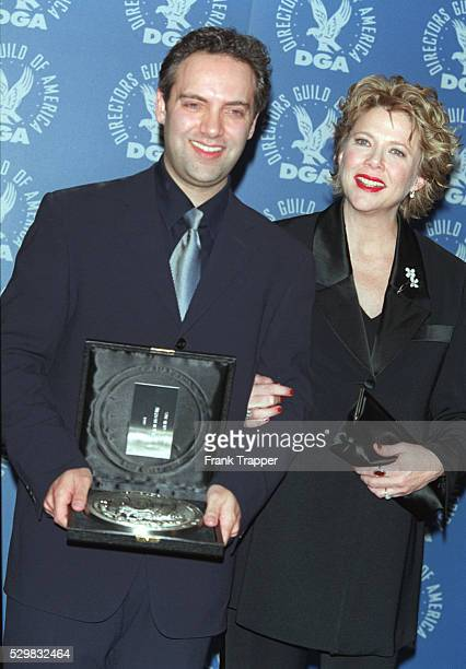 Film director Sam Mendes awarded for 'American Beauty' with Annette Bening who stars in the film