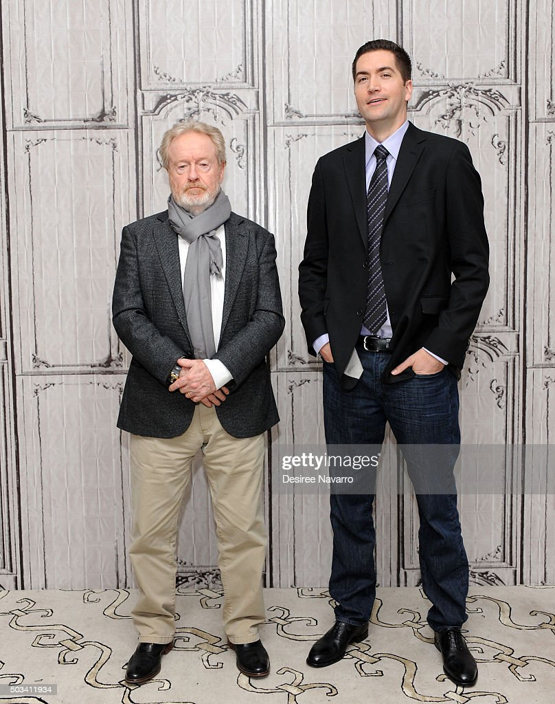 Film director Sir Ridley Scott (L) and screenwriter Drew Goddard attend AOL BUILD Series: Drew Goddard and Sir Ridley Scott, 'The Martian' at AOL Studios In New York on January 4, 2016 in New York City.
