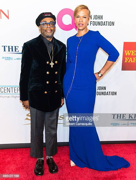 Film director Spike Lee and actress Tonya Lewis Lee attend Elton John AIDS Foundation's 14th Annual An Enduring Vision Benefit at Cipriani Wall...