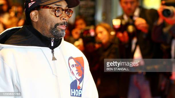 Film director Spike Lee arrives wearing a sweat-shirt depicting White House Democratic hopeful Barack Obamafor the UK Premiere of his film 'Miracle...