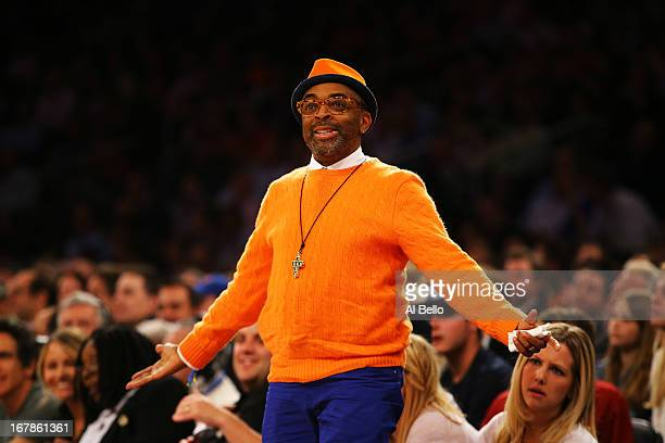 Film Director Spike Lee looks on during the game between the New York Knicks and the Boston Celtics during Game five of the Eastern Conference...