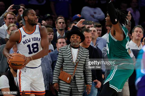 Film director Spike Lee watches the game during the second half between the Boston Celtics and the New York Knicks at Madison Square Garden on...