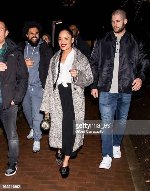 Film director Steven Caple Jr actress Tessa Thompson and actor/boxer Florian Munteanu are seen leaving Zahav restaurant after 'Creed II' cast dinner...