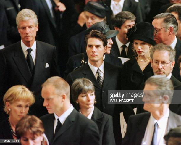 US film director Steven Spielberg actors Tom Cruise and Nicole Kidman pop singer Sting with his wife Trudy Styler arrive for the funeral service of...
