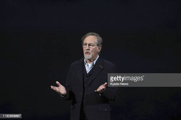 Film director Steven Spielberg attends an Apple product launch event in Cupertino, California on March 25, 2019. Apple Inc. Announced the launch of...