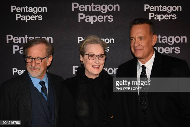 US film director Steven Spielberg US actress Meryl Streep and US actor Tom Hanks attend the premier of The Pentagon Papers on January 13 2018 in...