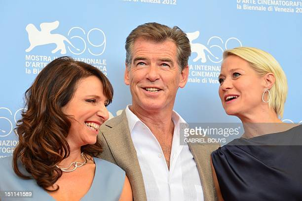 Film director Susanne Beer Irish actor Pierce Brosnan and Trine Dyrholm pose during the photocall of Den Skaldede frisor during the 69th Venice Film...