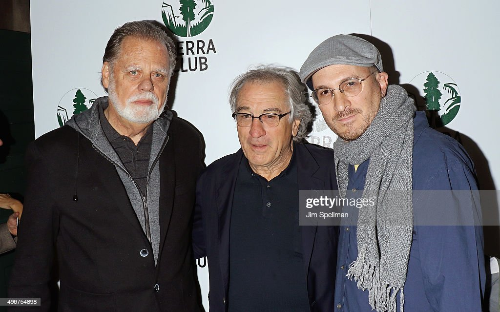 Film director Taylor Hackford, actor Robert De Niro and film director Darren Aronofsky attend the Sierra Club's Act In Paris, a night of comedy and climate action at Heath at the McKittrick Hotel on November 11, 2015 in New York City.